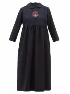 Comme Des Garçons Girl - Crystal Cartoon Embellished Wool Midi Dress - Womens - Navy