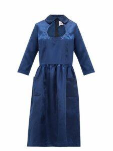 Comme Des Garçons Girl - Cut Out Peter Pan Collar Satin Dress - Womens - Navy