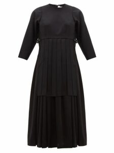 Noir Kei Ninomiya - Pleated Wool Twill Dress - Womens - Black