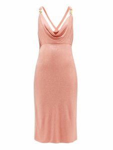 Versace - Crystal Embellished Cowl Neck Dress - Womens - Pink