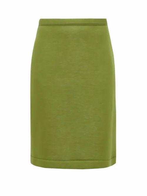 Burberry - A Line Neoprene Skirt - Womens - Green