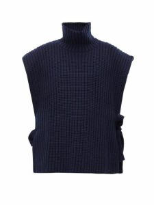 See By Chloé - Side Tie Ribbed High Neck Sweater - Womens - Navy