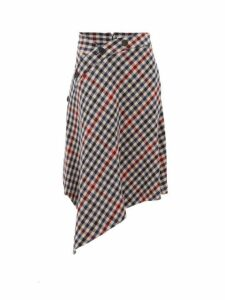 Jw Anderson - Asymmetric Checked Wool Blend Skirt - Womens - Multi