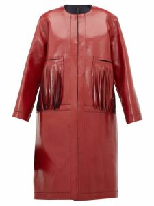 Sara Lanzi - Fringed Coated Wool Blend Coat - Womens - Red