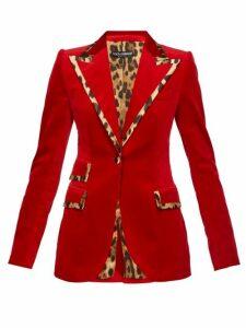 Dolce & Gabbana - Leopard Print Trim Single Breasted Velvet Blazer - Womens - Red