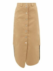 Ganni - Button Front Cotton Blend Skirt - Womens - Beige