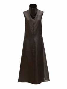 The Row - Virginia Funnel Neck Silk Organza Midi Dress - Womens - Dark Brown
