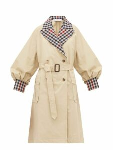 Jw Anderson - Contrast Trim Cotton Gabardine Trench Coat - Womens - Beige