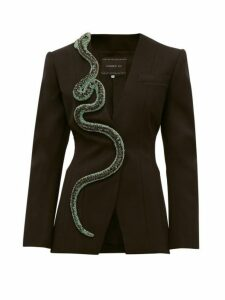 Andrew Gn - Crystal Snake Wool Blend Blazer - Womens - Black Green