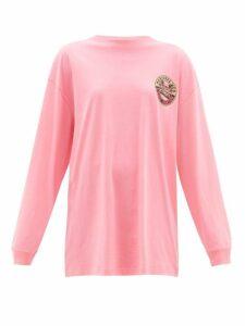 Vetements - Surfer Print Cotton Jersey T Shirt - Womens - Pink