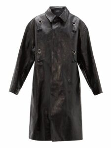 Raf Simons - Oversized Cherry Leather Coat - Womens - Black