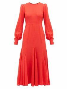 Goat - Idol Godet Panel Wool Crepe Midi Dress - Womens - Red