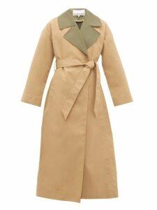 Ganni - Contrast Collar Tie Waist Trench Coat - Womens - Beige