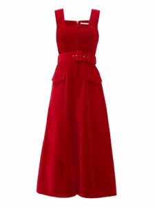 Emilia Wickstead - Petra Flared Velvet Dress - Womens - Red