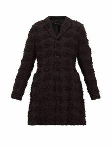 Comme Des Garçons Comme Des Garçons - Single Breasted Floral Cutout Longline Jacket - Womens - Black