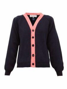 Comme Des Garçons Girl - Contrast Trim Knitted Cardigan - Womens - Navy Multi