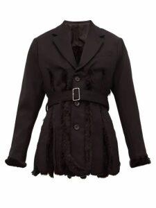 Noir Kei Ninomiya - Slit Faux Fur Lined Wool Gabardine Blazer - Womens - Black