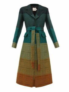 Mary Katrantzou - Beatrice Dégradé Houndstooth Wool Blend Coat - Womens - Dark Green
