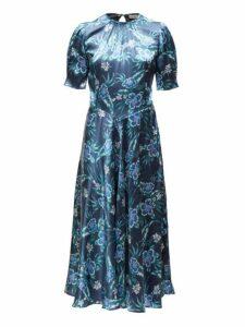 Altuzarra - Adeline Floral Silk Blend Charmeuse Midi Dress - Womens - Blue Print