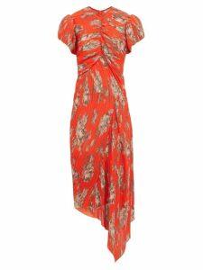 Preen By Thornton Bregazzi - Jane Floral Print Plissé Chiffon Dress - Womens - Orange Multi