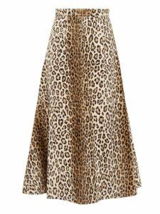 Emilia Wickstead - Ioni Leopard Print Faux Fur Midi Skirt - Womens - Leopard