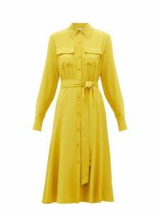 Diane Von Furstenberg - Antonette Silk Crepe De Chine Shirtdress - Womens - Yellow