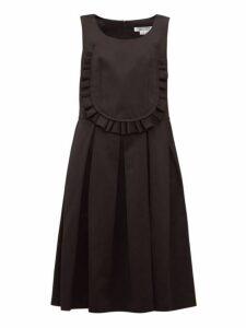 Comme Des Garçons Comme Des Garçons - Ruffled Bib Twill Dress - Womens - Black