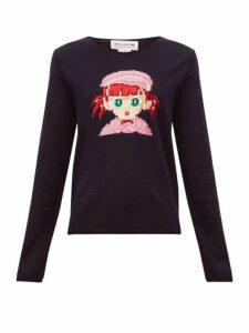 Comme Des Garçons Girl - Intarsia Girl Wool Blend Sweater - Womens - Navy