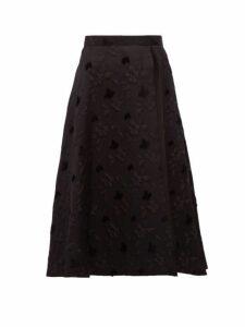 Noir Kei Ninomiya - Side Slit A Line Floral Cloqué Skirt - Womens - Black