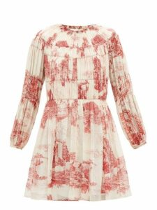 Chloé - Smocked Toile De Jouy Print Silk Mini Dress - Womens - Red White