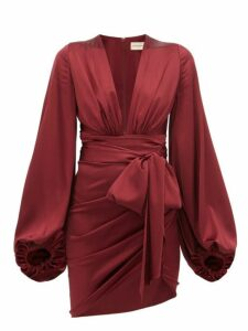 Alexandre Vauthier - Plunge Neck Ruched Silk Blend Satin Dress - Womens - Burgundy