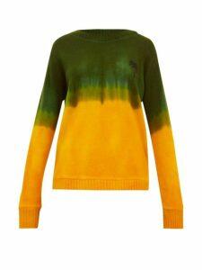 The Elder Statesman - Tie Dyed Palm Tree Motif Cashmere Sweater - Womens - Green Multi