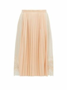 Burberry - Lace Trimmed Chiffon And Pleated Satin Midi Skirt - Womens - Light Pink