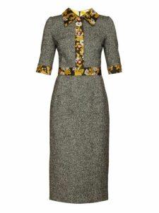 Dolce & Gabbana - Brocade Trimmed Wool Blend Tweed Dress - Womens - Grey Multi