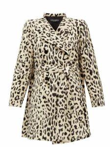 Dolce & Gabbana - Double Breasted Leopard Print Faux Fur Coat - Womens - Leopard
