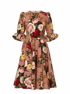 Dolce & Gabbana - Floral Print Velvet Knee Length Dress - Womens - Pink Multi