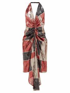 Halpern - Geometric Ruched Sequinned Halterneck Dress - Womens - Red Print