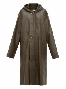 Vetements - Logo Embossed Hooded Leather Raincoat - Womens - Khaki