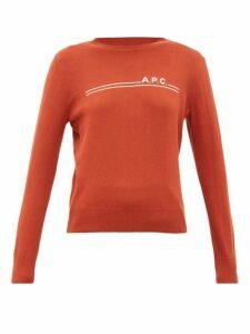 A.p.c. - Logo Intarsia Crew Neck Cotton Blend Sweater - Womens - Burgundy