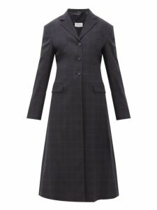 Maison Margiela - Single Breasted Windowpane Check Wool Blend Coat - Womens - Navy Multi