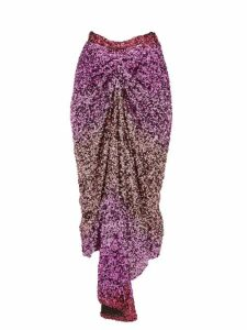 Halpern - Dégradé Sequin Midi Skirt - Womens - Pink Multi