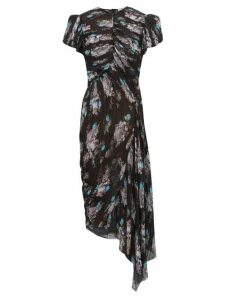 Preen By Thornton Bregazzi - Jane Floral-print Pleated-chiffon Dress - Womens - Black