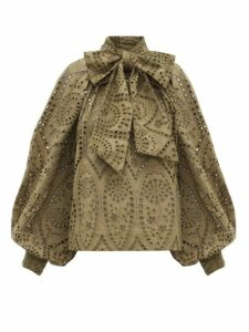 Ganni - Pussy Bow Broderie Anglaise Cotton Blouse - Womens - Khaki