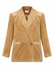 Ganni - Double Breasted Cotton Corduroy Blazer - Womens - Camel