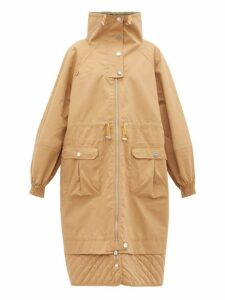 Ganni - Funnel Neck Puff Sleeve Cotton Blend Parka Coat - Womens - Beige
