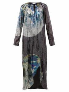 Ganni - Earth Print Front Slit Sequinned Dress - Womens - Multi