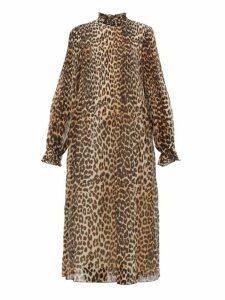 Ganni - Leopard Print Plissé Midi Dress - Womens - Leopard