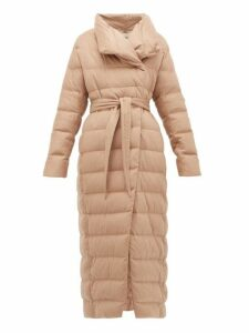 Herno - High Neck Belted Down Filled Silk Blend Coat - Womens - Camel