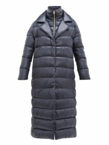 Herno - Longline Ultralight Double Layer Quilted Coat - Womens - Navy