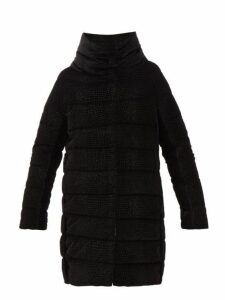Herno - Padded Down Filled Textured Velvet Coat - Womens - Black